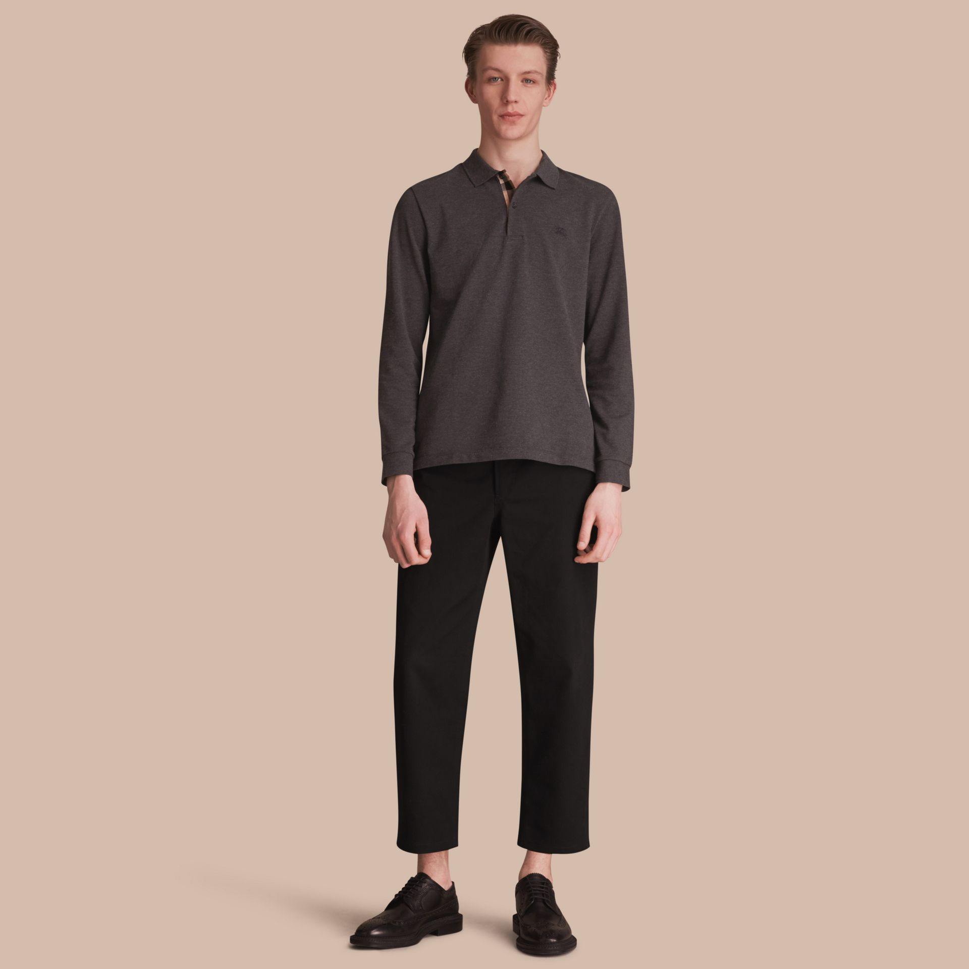 Check Placket Long Sleeve Polo Shirt in Dark Charcoal Melange - Men | Burberry Hong Kong - gallery image 1