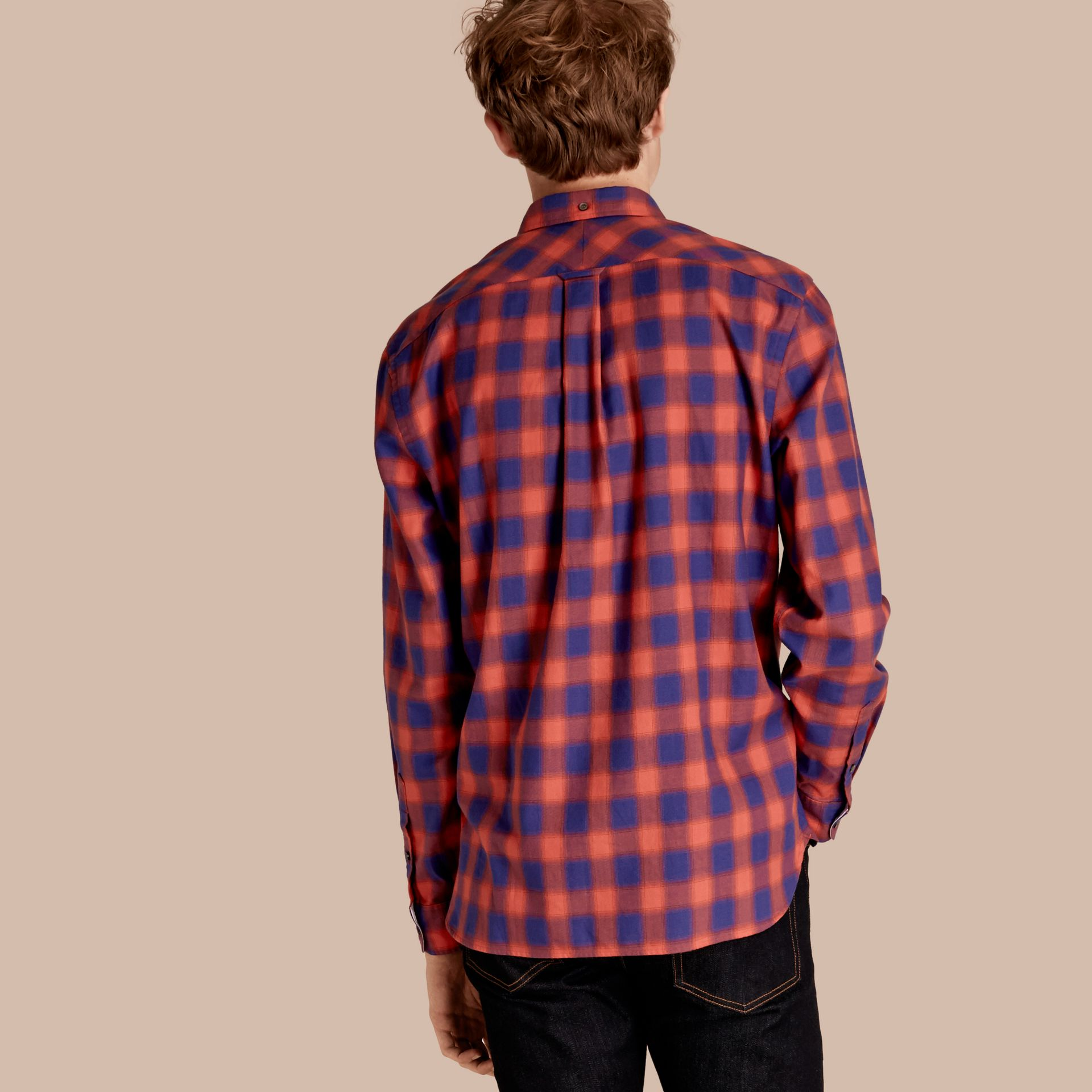 Orange red Gingham Check Cotton Shirt Orange Red - gallery image 3