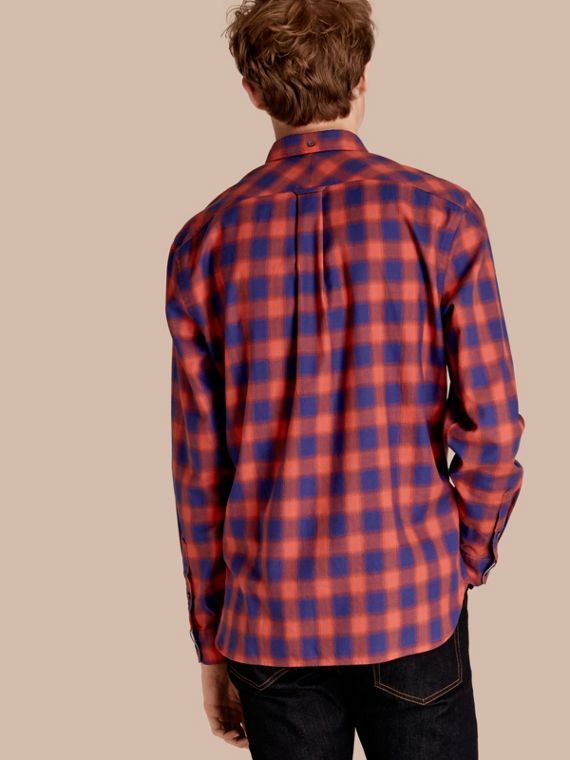 Orange red Gingham Check Cotton Shirt Orange Red - cell image 2