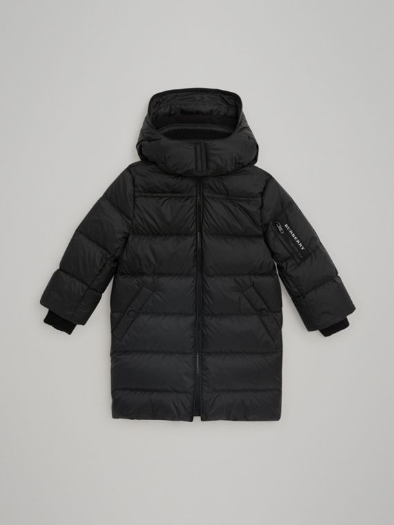 Detachable Hood Down-filled Puffer Coat in Black