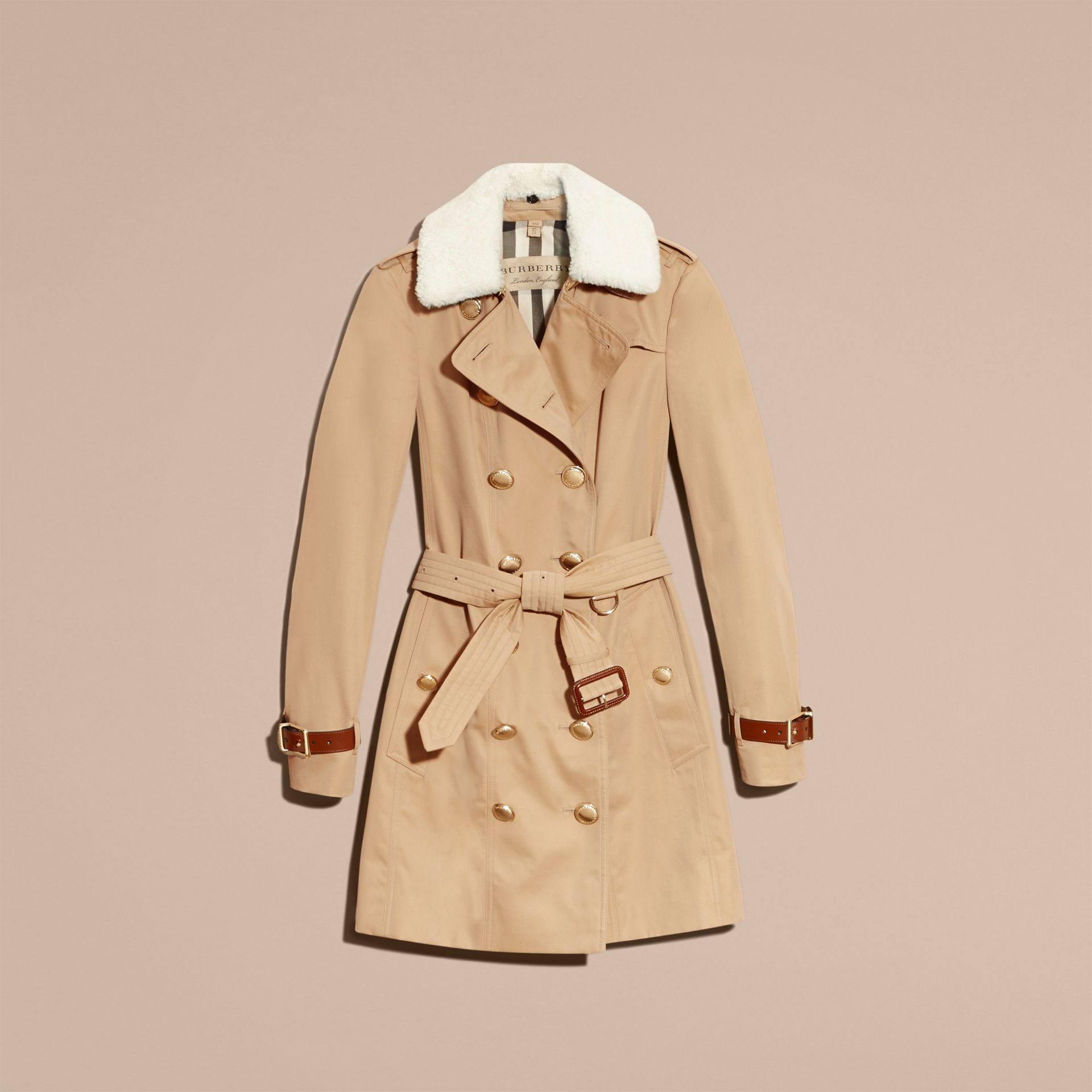 Honey Leather Trim Trench Coat with Detachable Shearling Collar - gallery image 4