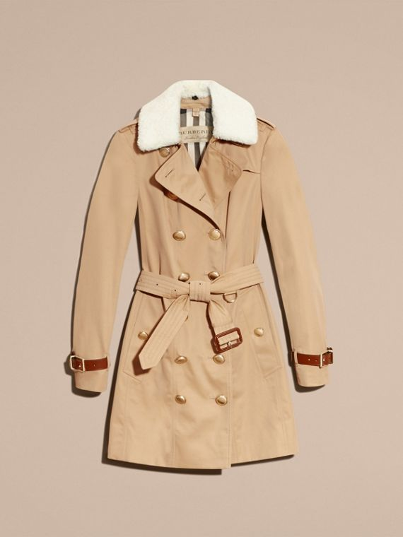 Honey Leather Trim Trench Coat with Detachable Shearling Collar - cell image 3