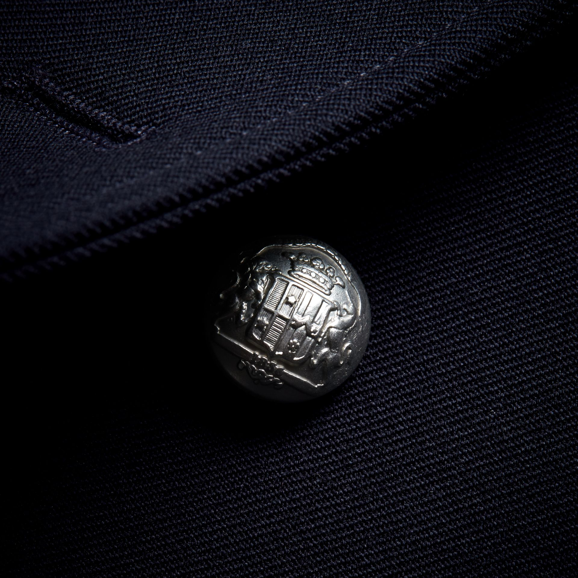 Cord Detail Wool Military Jacket in Navy - Women | Burberry - gallery image 2