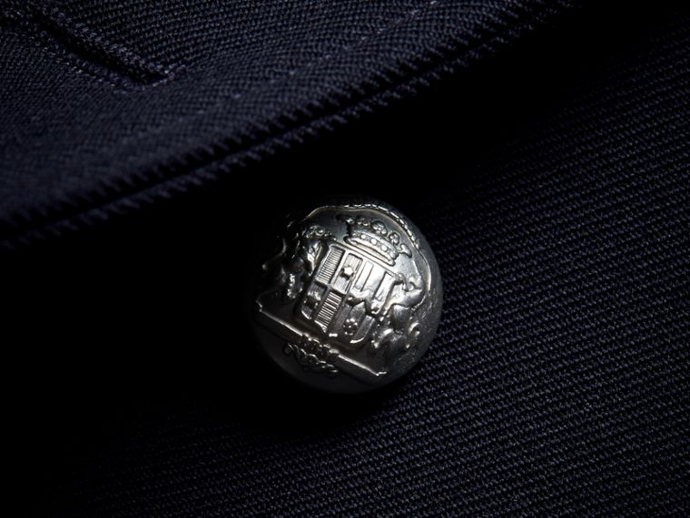 Cord Detail Wool Military Jacket in Navy - Women | Burberry - cell image 1