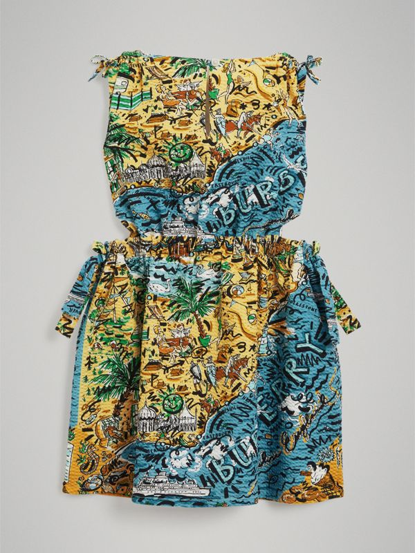 Seaside Print Seersucker Cut-out Dress in Sand - Girl | Burberry - cell image 3