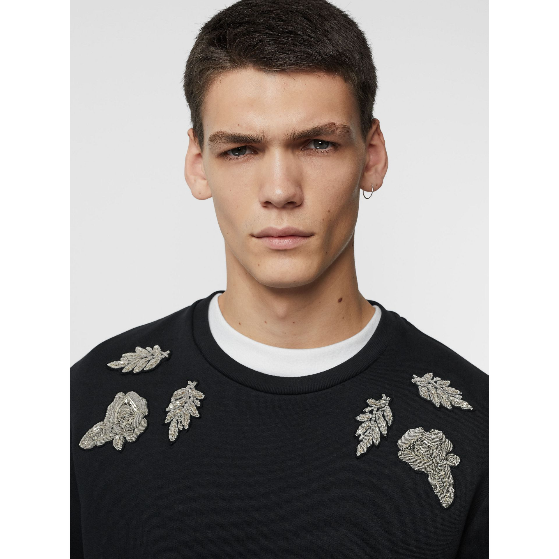 Bullion Floral Cotton Blend Sweatshirt in Black - Men | Burberry - gallery image 1
