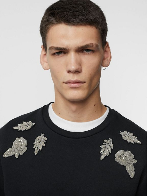 Bullion Floral Cotton Blend Sweatshirt in Black - Men | Burberry United Kingdom - cell image 1