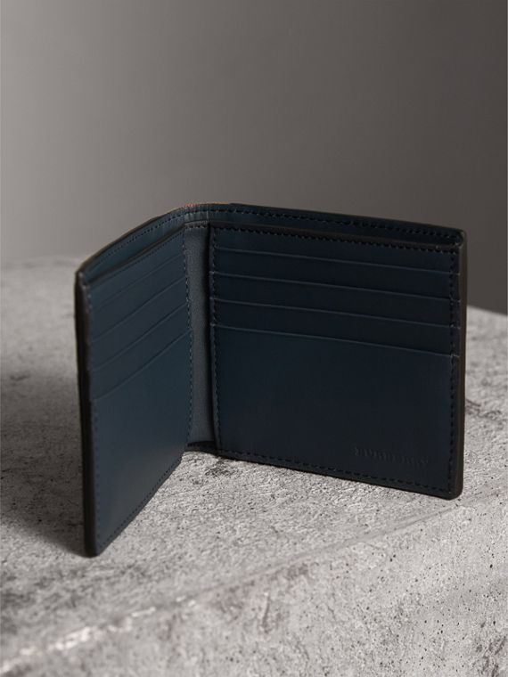 Leather and House Check International Bifold Wallet in Storm Blue | Burberry - cell image 3