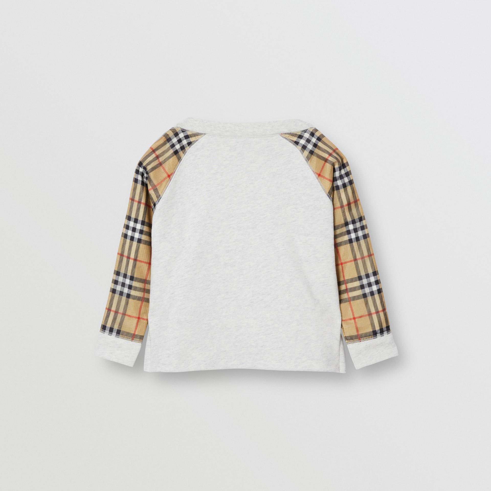 Vintage Check Detail Logo Print Cotton Sweatshirt in White Melange - Children | Burberry - gallery image 3