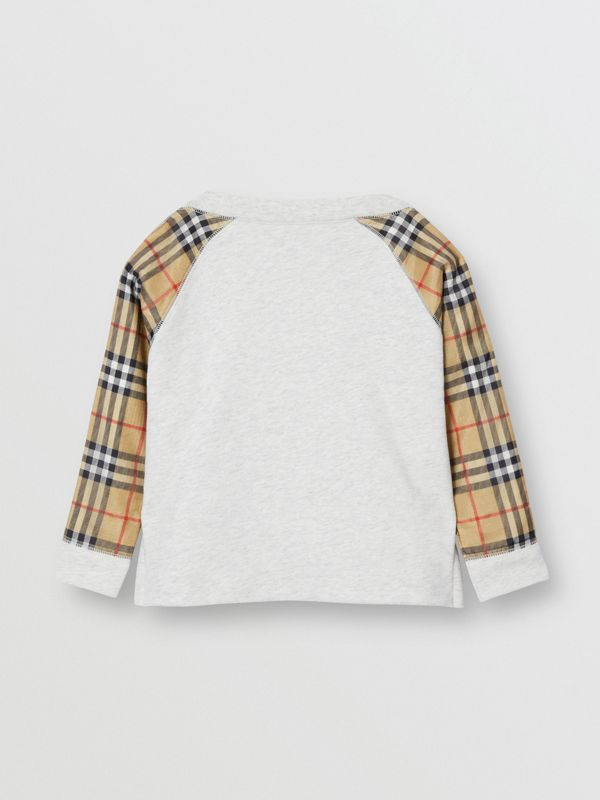 Vintage Check Detail Logo Print Cotton Sweatshirt in White Melange - Children | Burberry - cell image 3