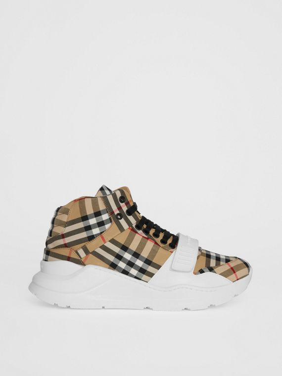 Vintage Check High-top Sneakers in Antique Yel/optc Wht