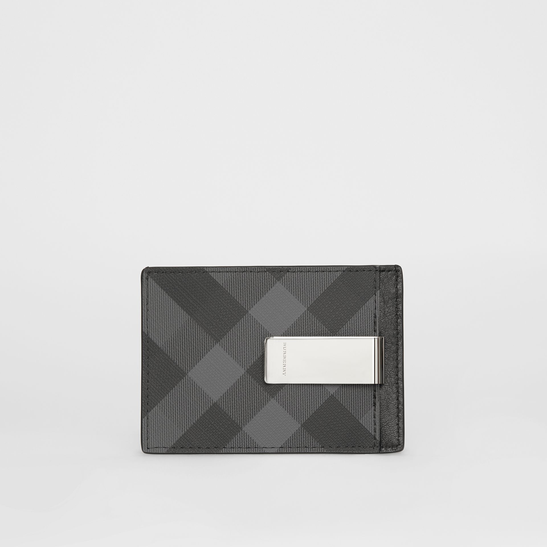 London Check and Leather Money Clip Card Case in Charcoal/black - Men | Burberry Australia - gallery image 4