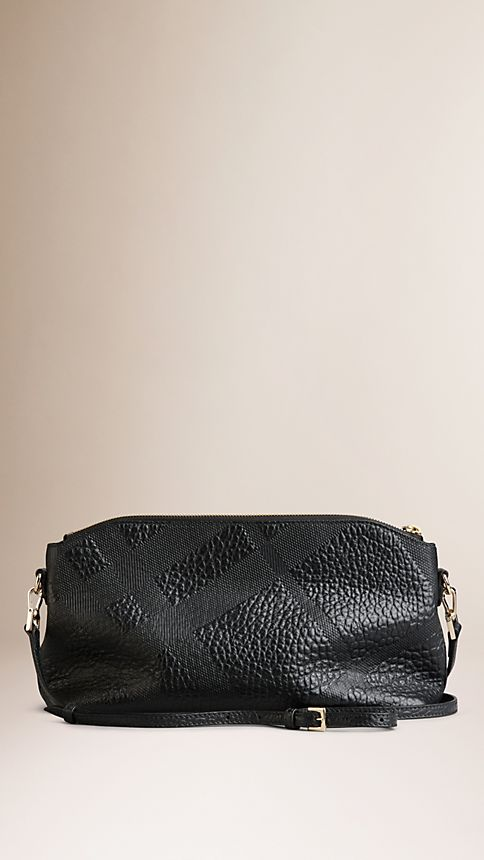 Black Small Embossed Check Leather Clutch Bag - Image 3