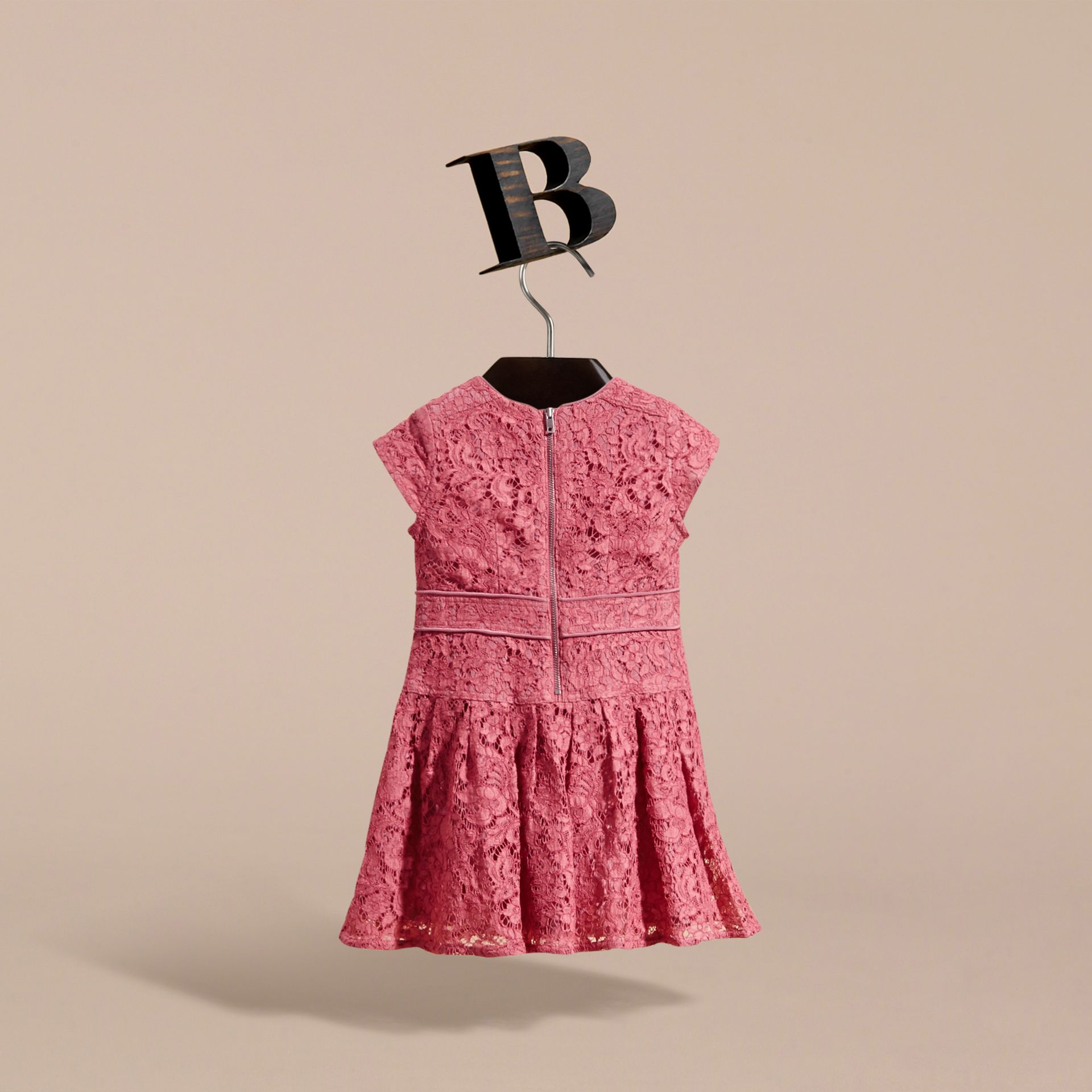 Cap Sleeve Macramé Lace Dress in Pink Azalea - Girl | Burberry - gallery image 4