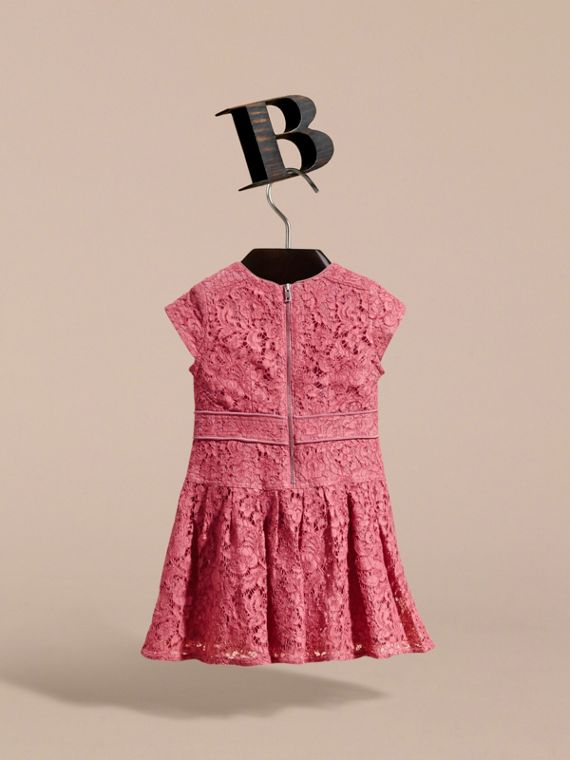 Cap Sleeve Macramé Lace Dress in Pink Azalea - Girl | Burberry - cell image 3