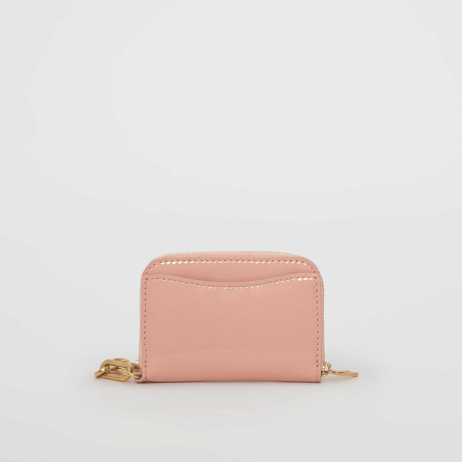 Link Detail Patent Leather Ziparound Wallet in Pale Fawn Pink - Women | Burberry - gallery image 5