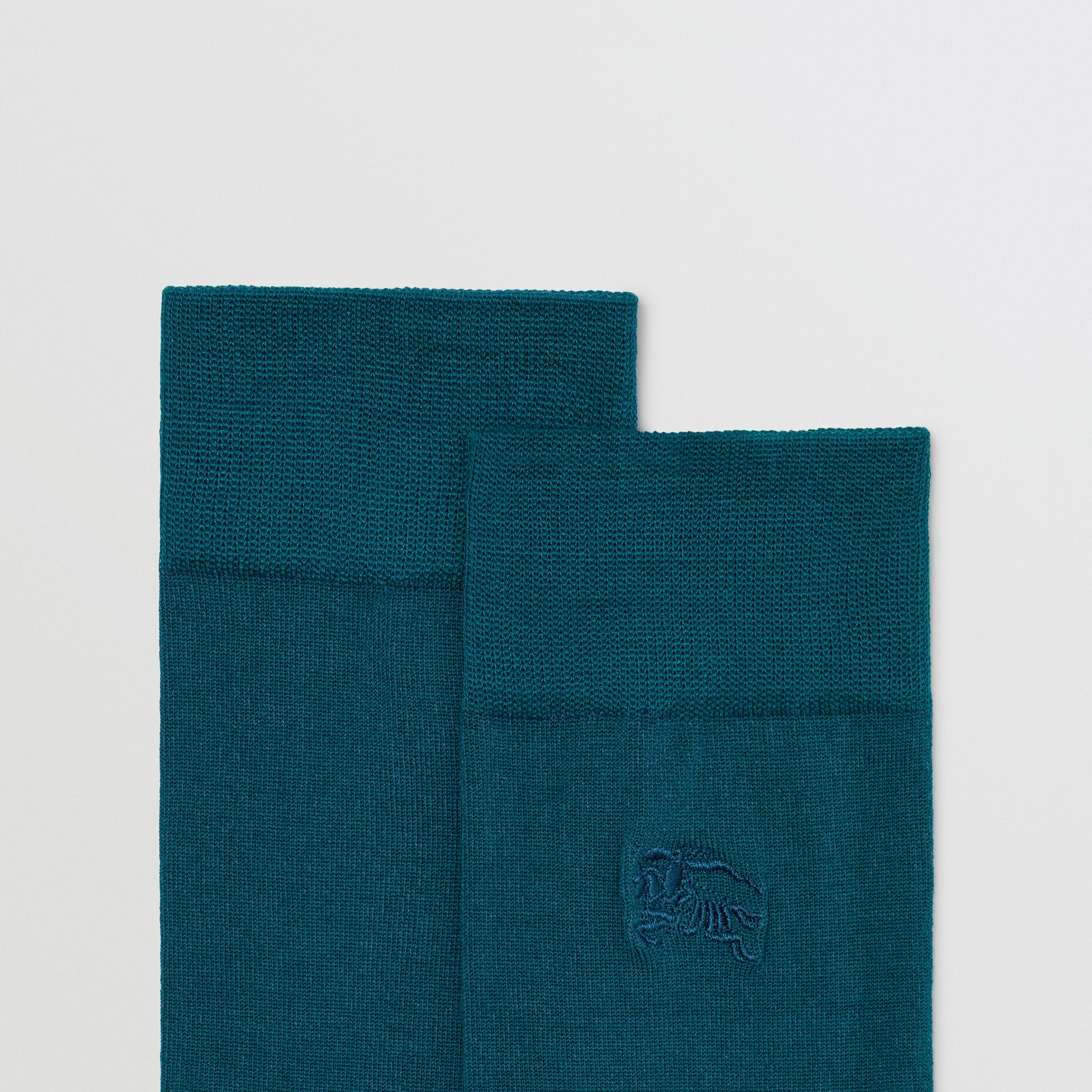 Embroidered EKD Cotton Blend Socks in Sea Green | Burberry - gallery image 1