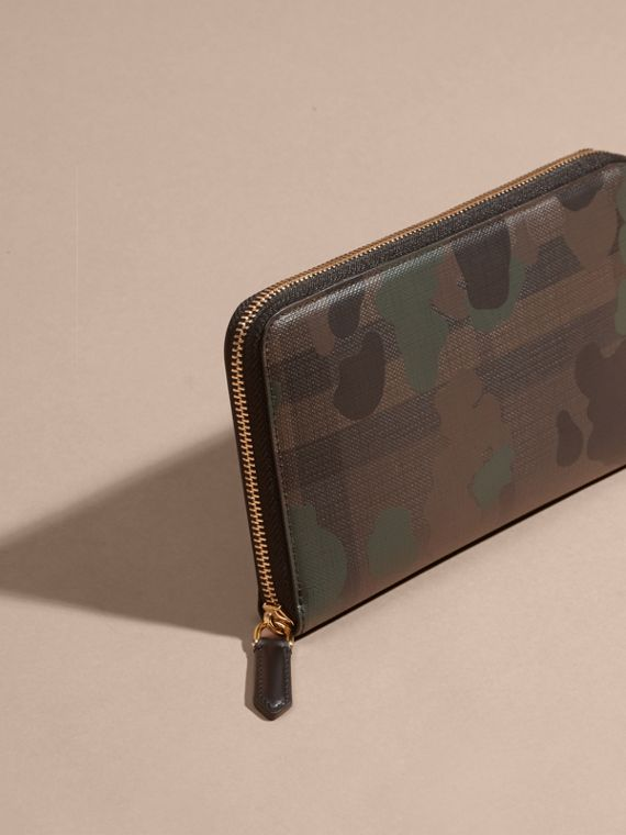 Chocolate/camouflage Camouflage and London Check Ziparound Wallet - cell image 2