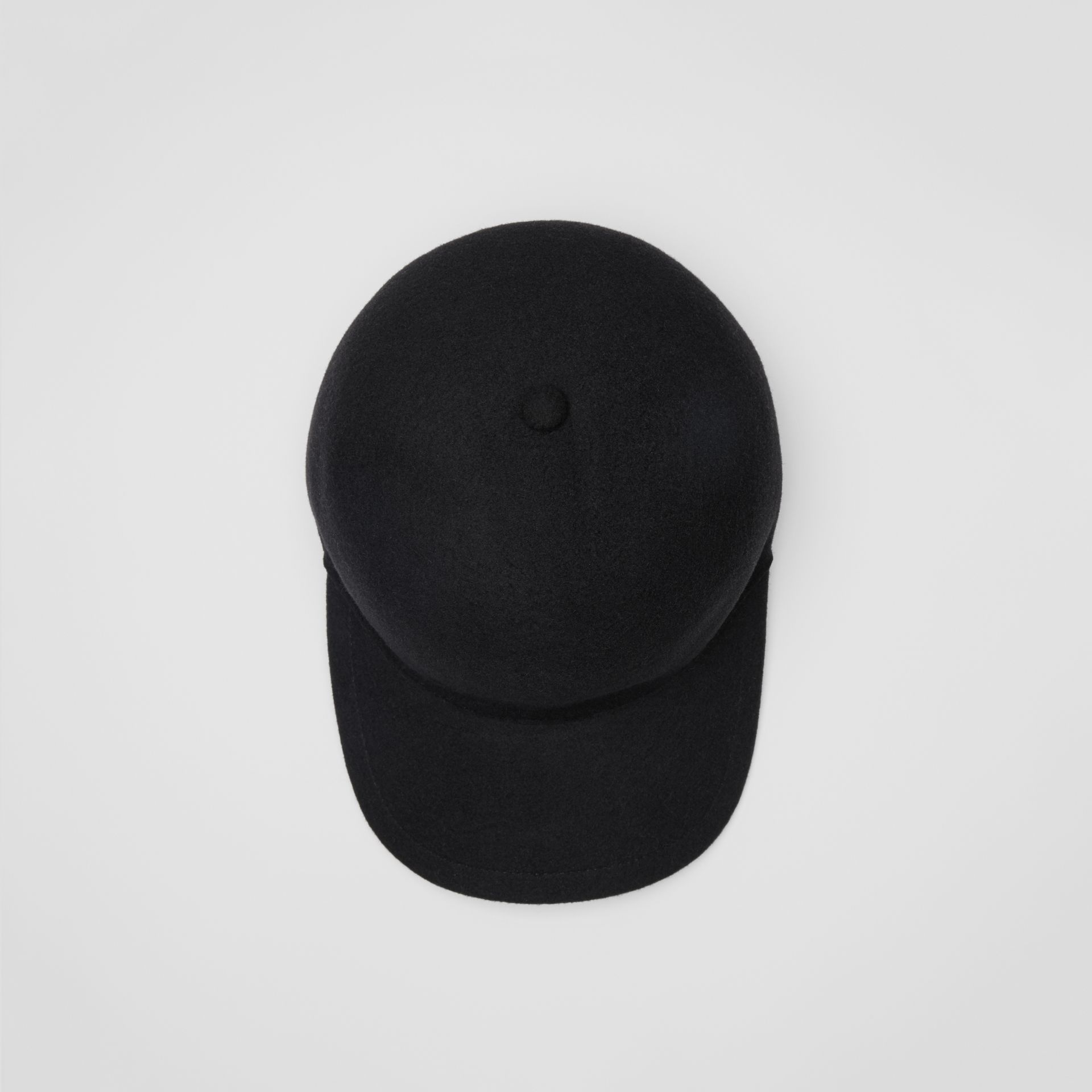 Felted Wool Baseball Cap in Black | Burberry - gallery image 0