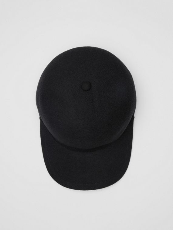Felted Wool Baseball Cap in Black