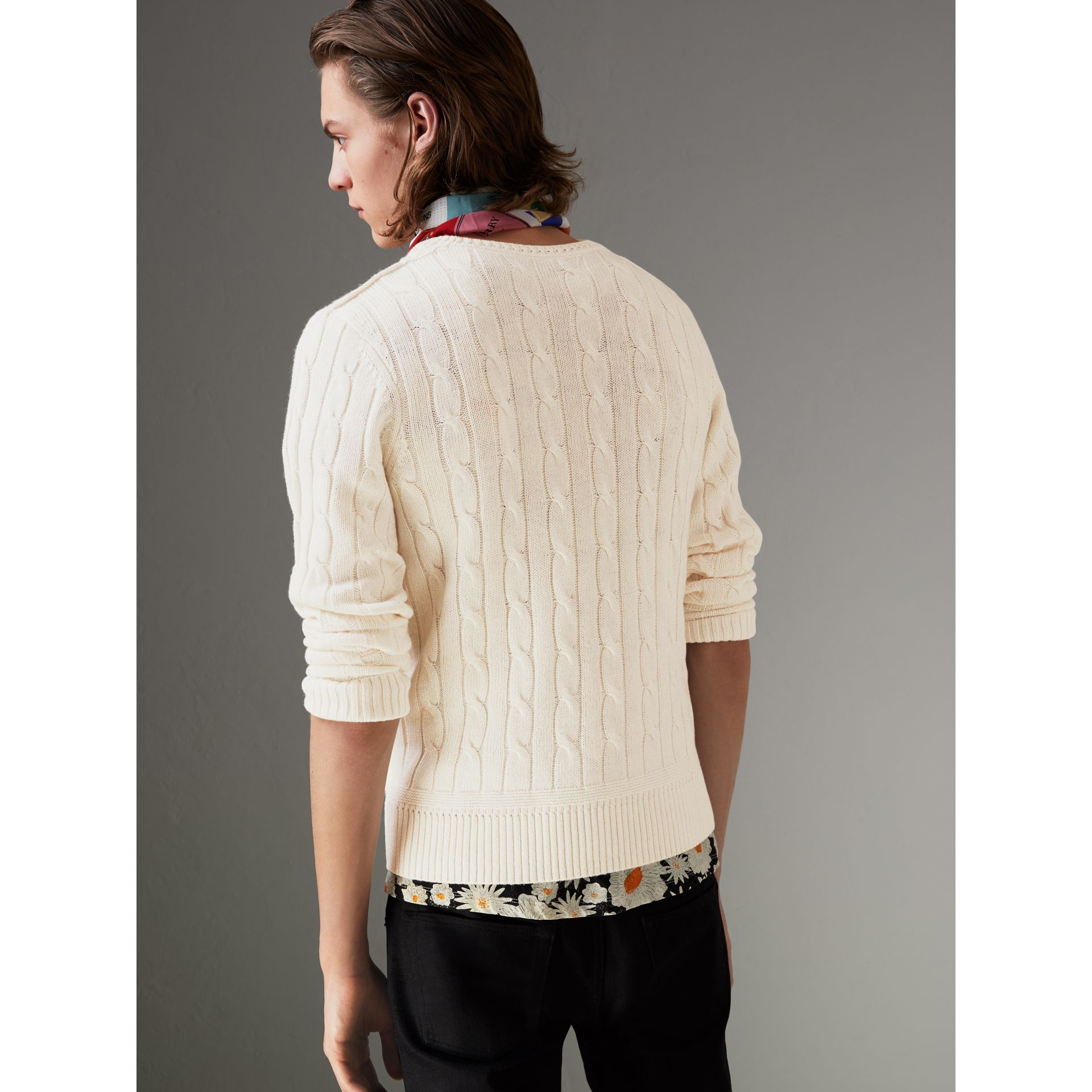 Cable Knit Cotton Cashmere Sweater in Chalk White - Men | Burberry United States - gallery image 2