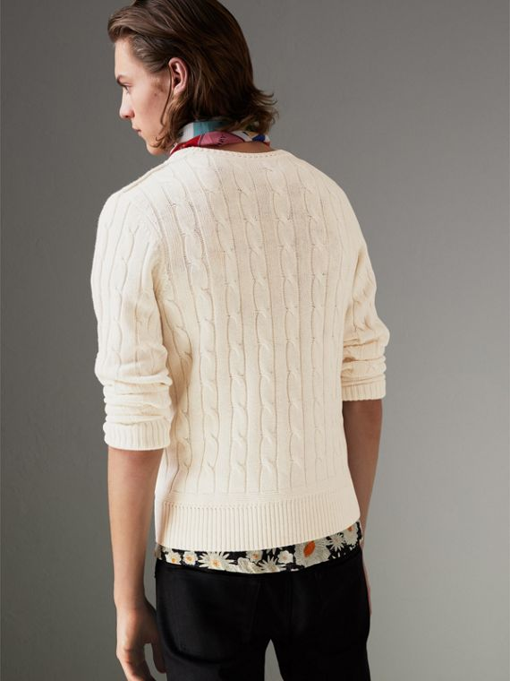 Cable Knit Cotton Cashmere Sweater in Chalk White - Men | Burberry Hong Kong - cell image 2