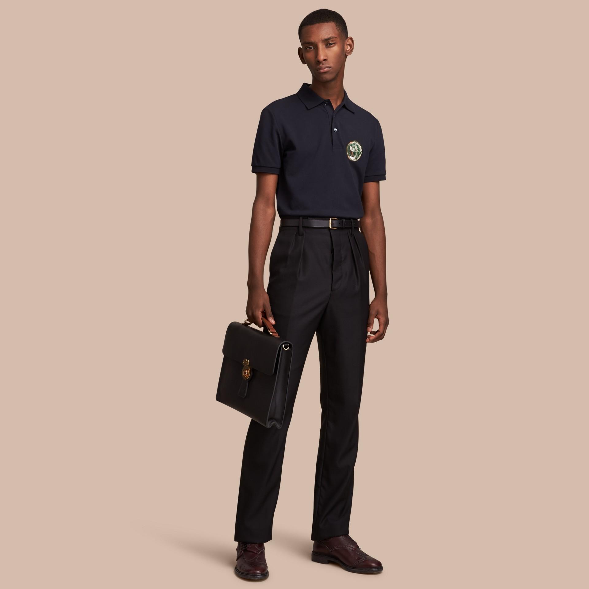 Pallas Heads Appliqué Cotton Polo Shirt in Dark Navy - gallery image 1