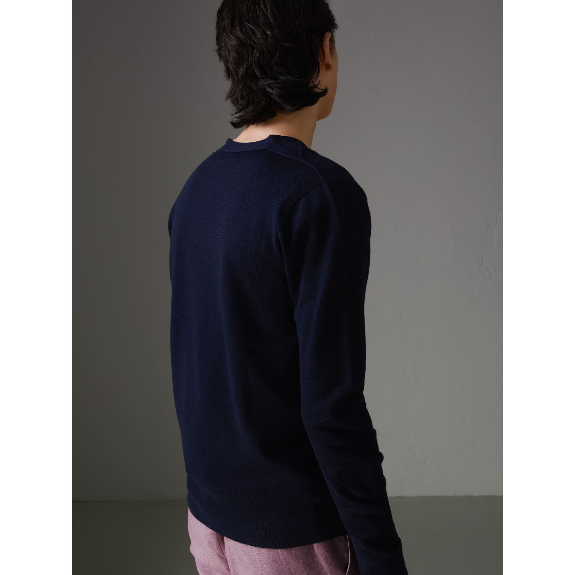 Check Detail Merino Wool Cardigan in Navy - Men | Burberry Singapore - gallery image 2