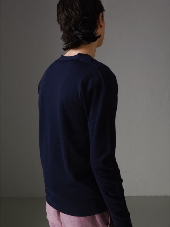 Check Detail Merino Wool Cardigan in Navy - Men | Burberry Singapore - cell image 2