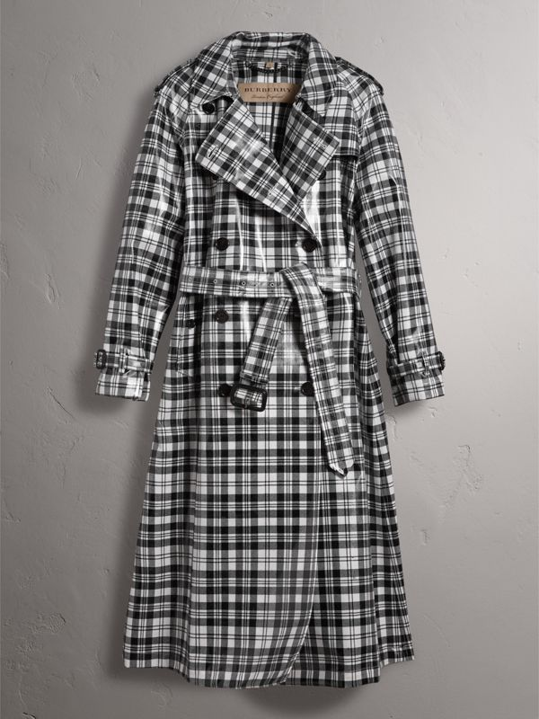 Laminated Tartan Wool Trench Coat in Black/white - Women | Burberry United Kingdom - cell image 3