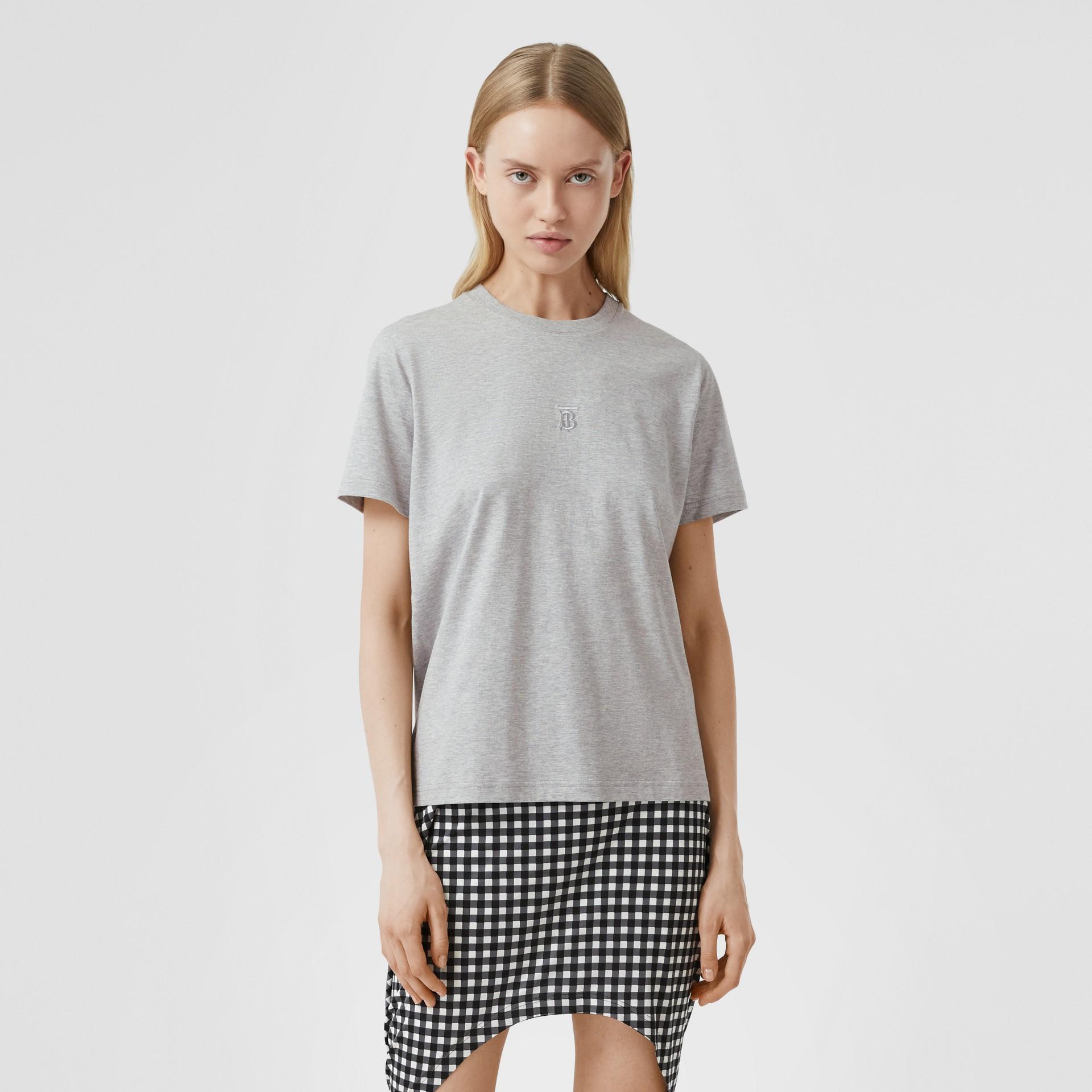 花押字圖案棉質 T 恤 (淡混合灰) - 女款 | Burberry - 圖庫照片 4