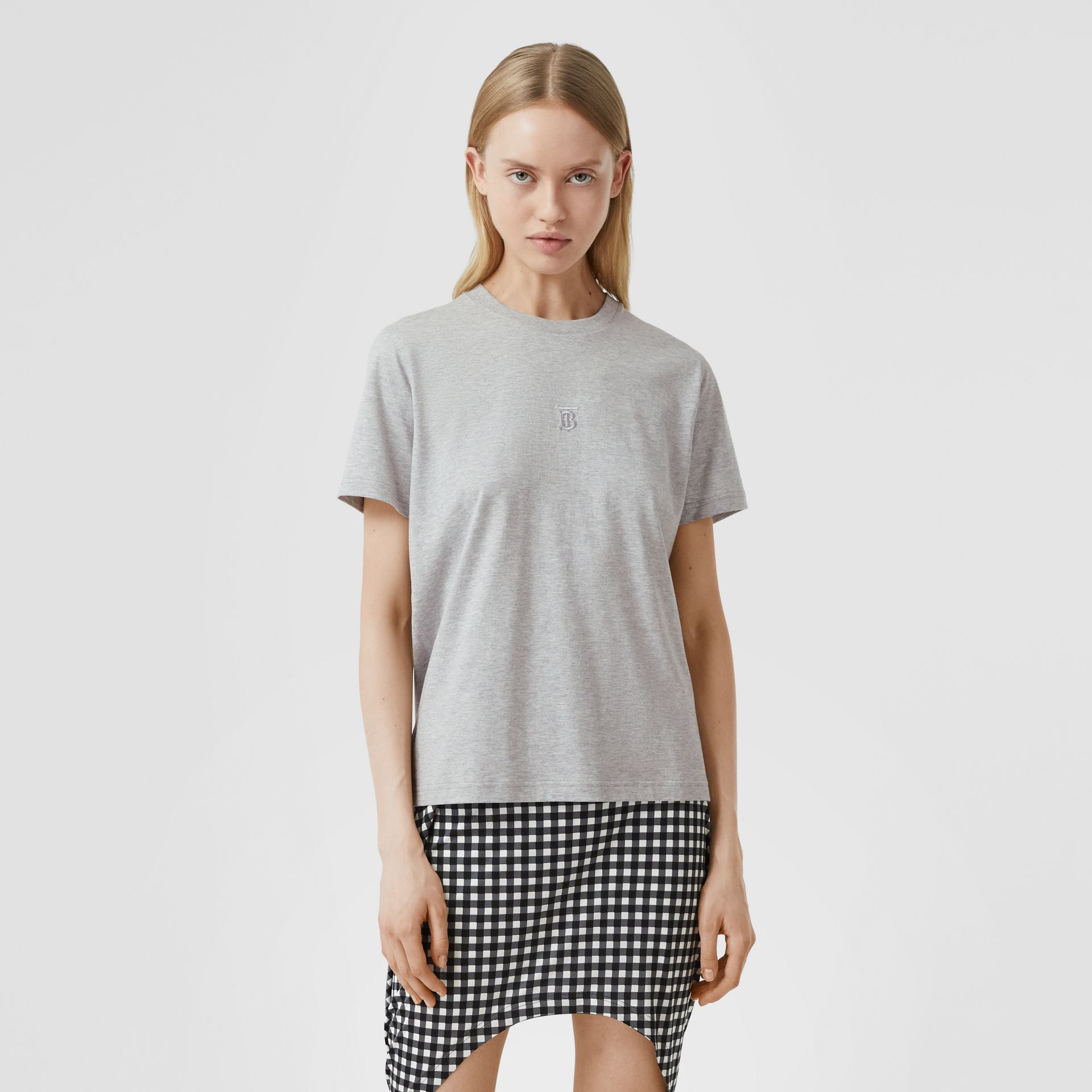 Monogram Motif Cotton T-shirt in Pale Grey Melange - Women | Burberry - gallery image 4