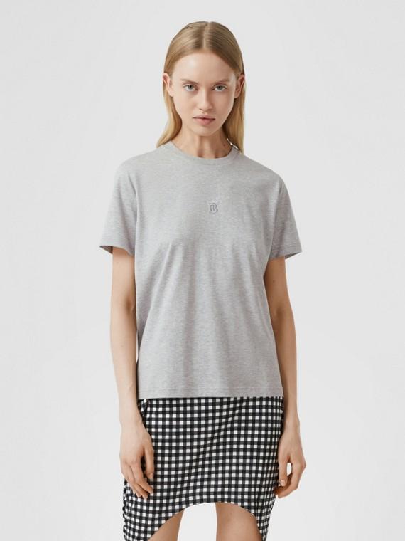 Monogram Motif Cotton T-shirt in Pale Grey Melange