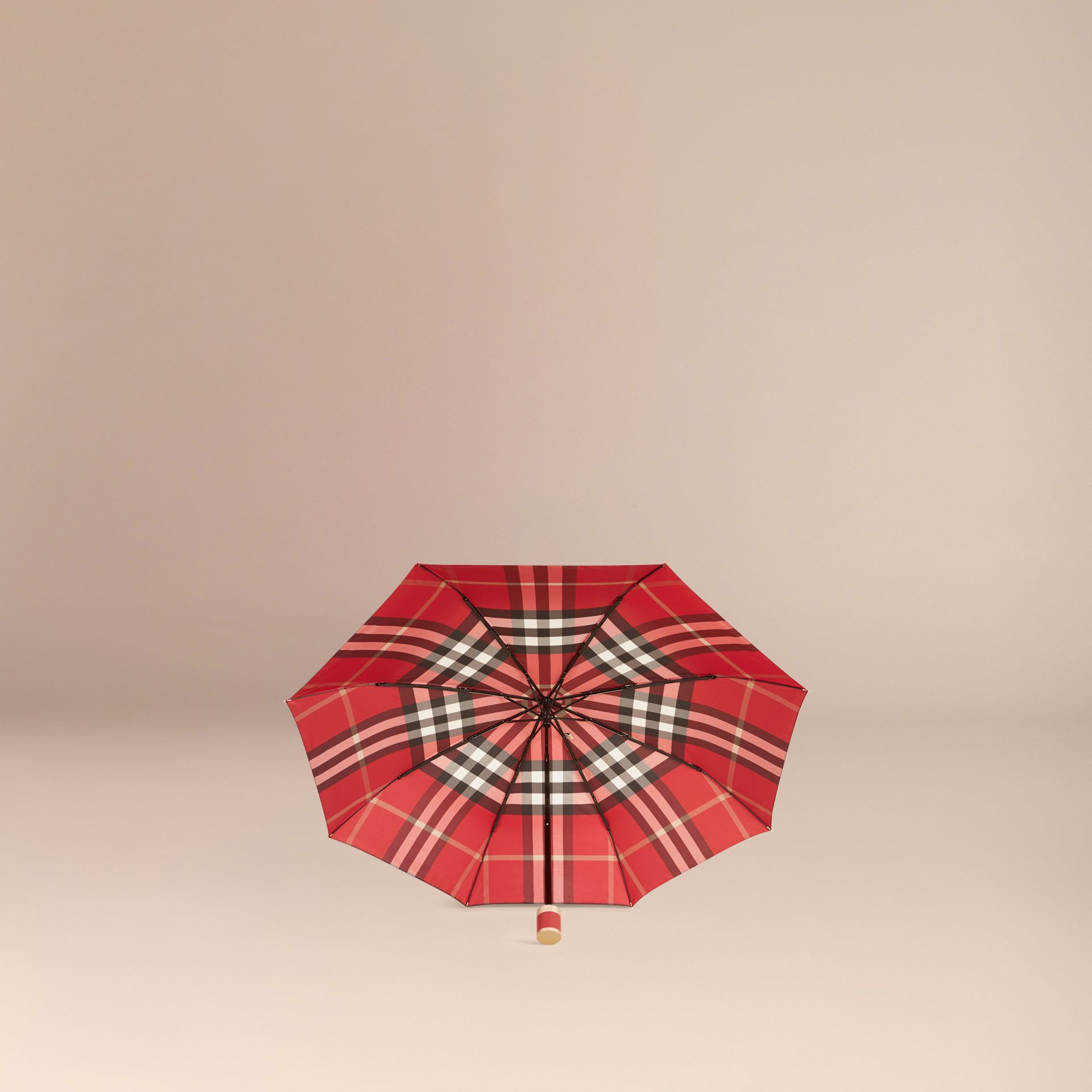 Check Folding Umbrella in Parade Red | Burberry Canada - gallery image 3