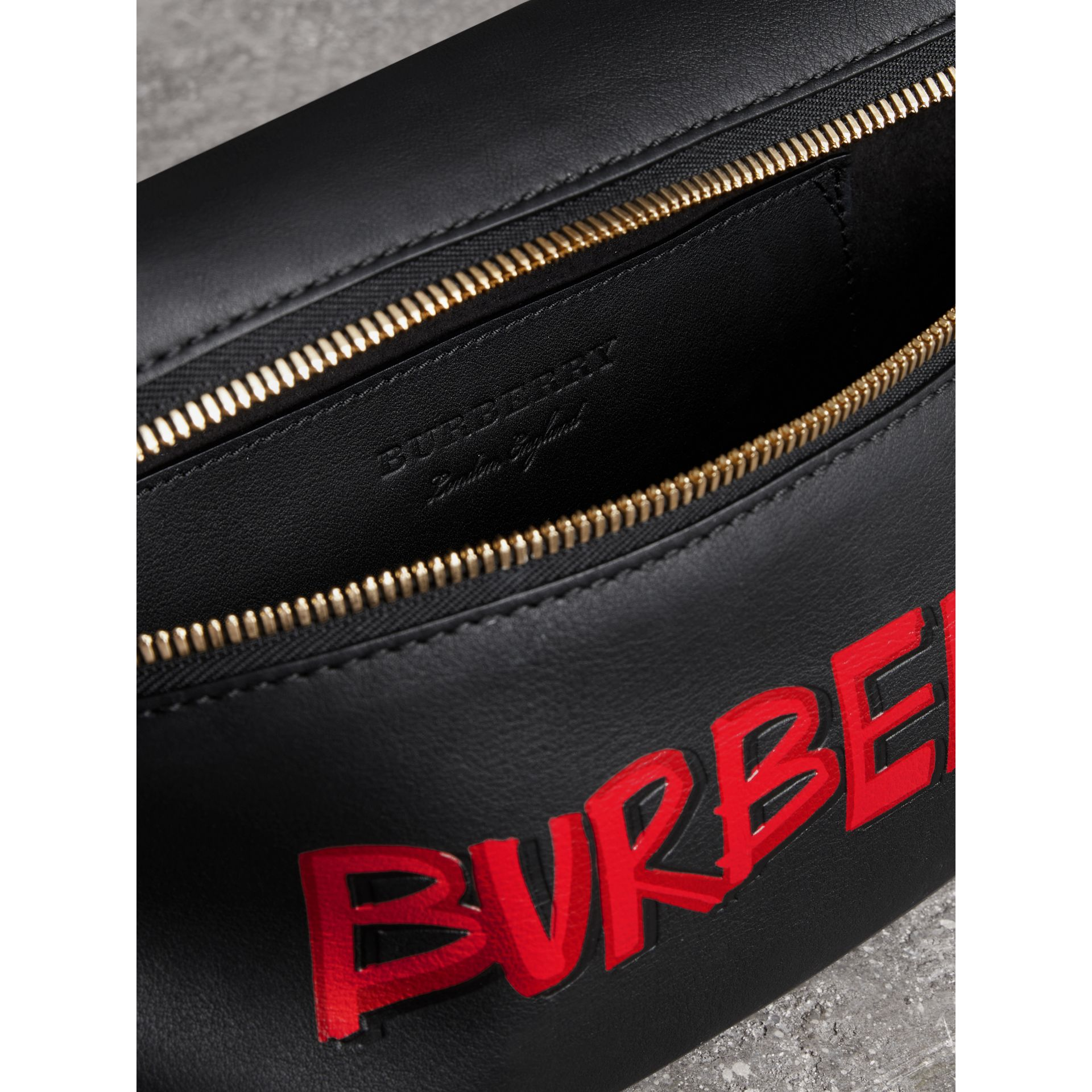 Medium Graffiti Print Leather Bum Bag in Black - Men | Burberry - gallery image 3