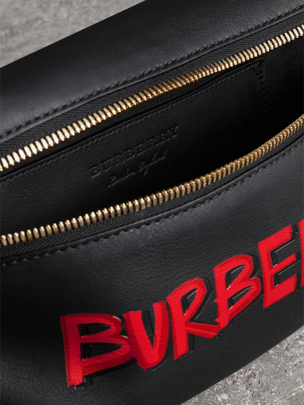 Medium Graffiti Print Leather Bum Bag in Black | Burberry - cell image 3