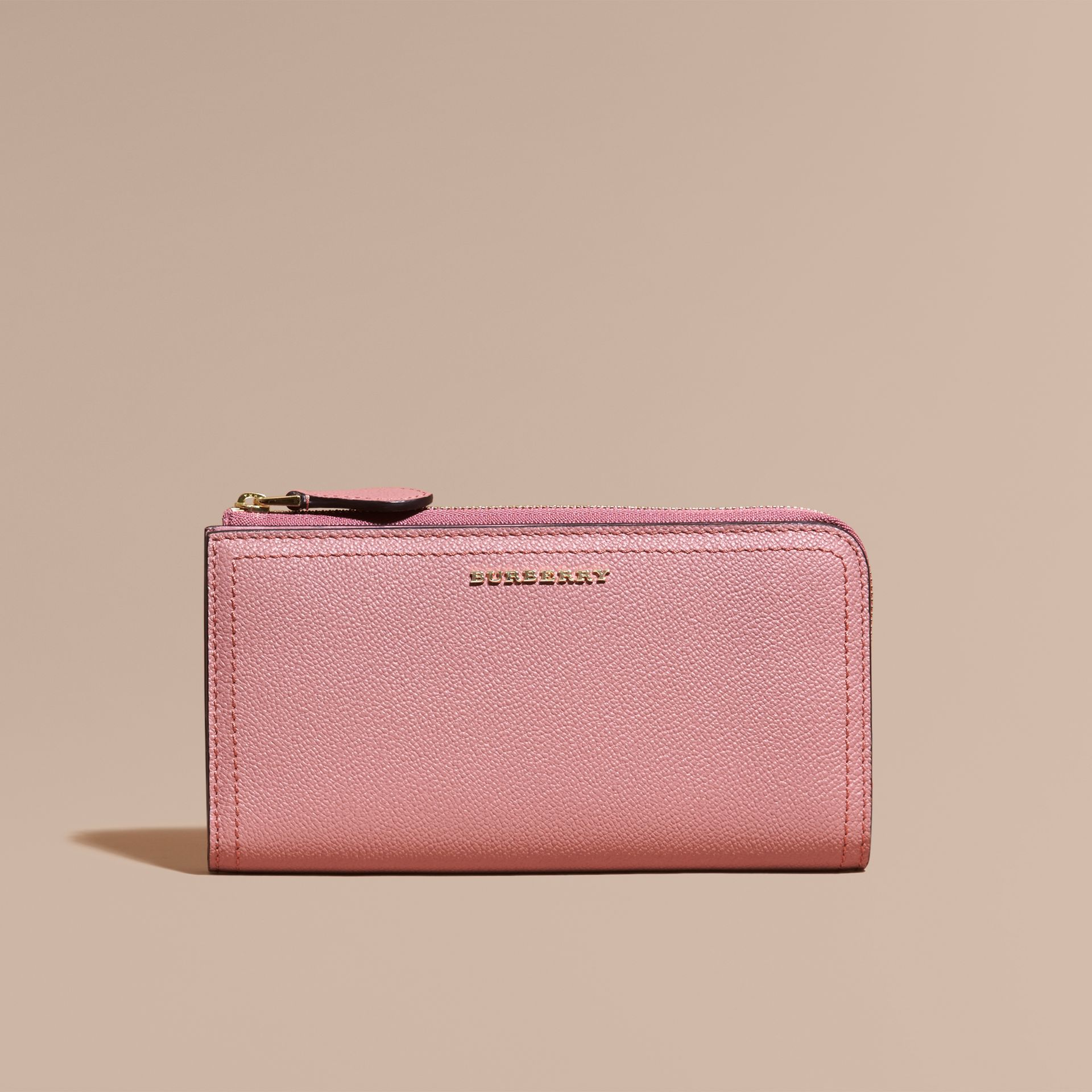 Grainy Leather Ziparound Wallet Dusty Pink - gallery image 3