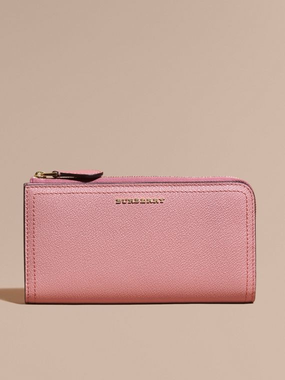 Grainy Leather Ziparound Wallet Dusty Pink - cell image 2