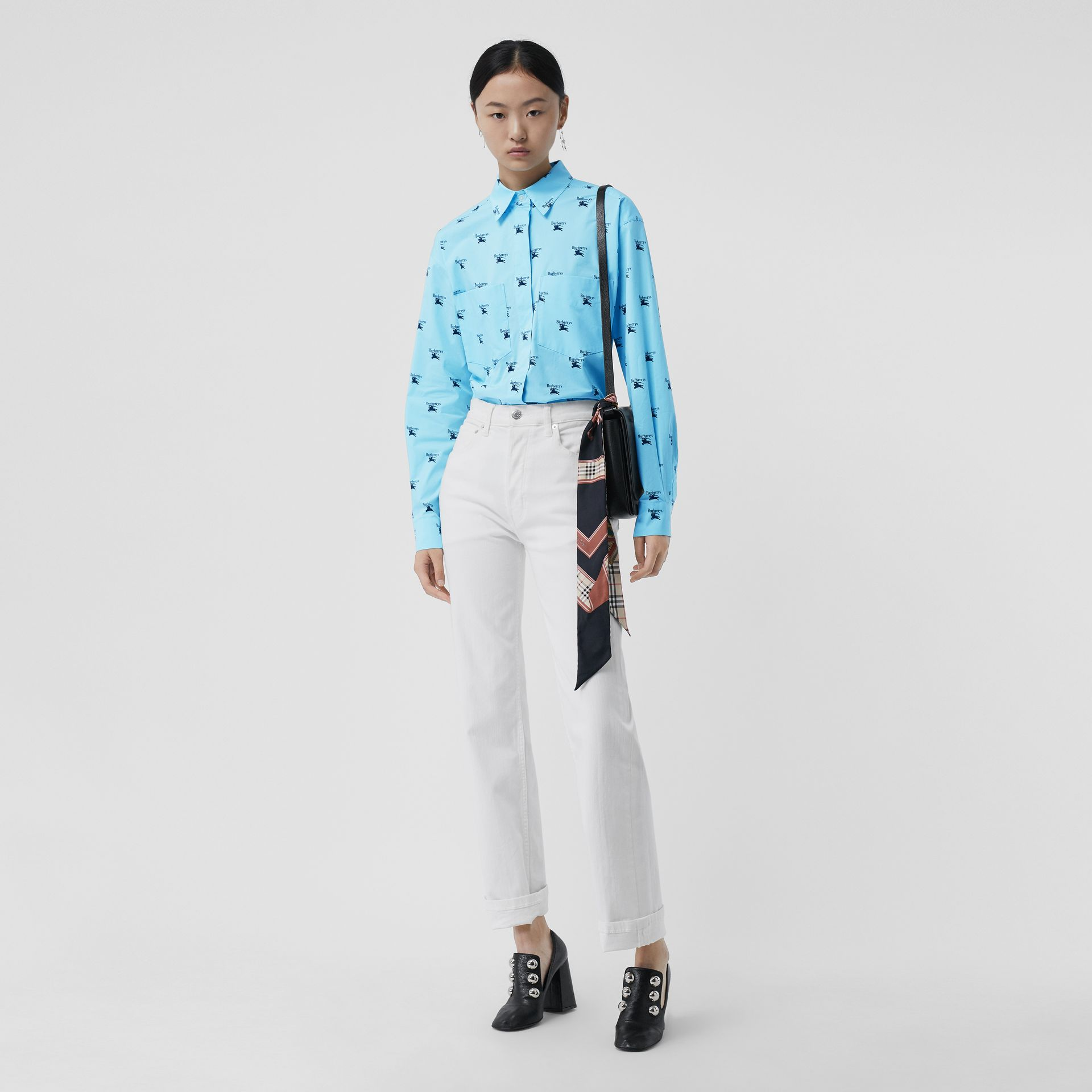 Logo Print Stretch Cotton Shirt in Sky Blue - Women | Burberry Australia - gallery image 0