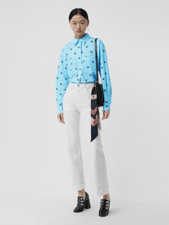 Logo Print Stretch Cotton Shirt in Sky Blue