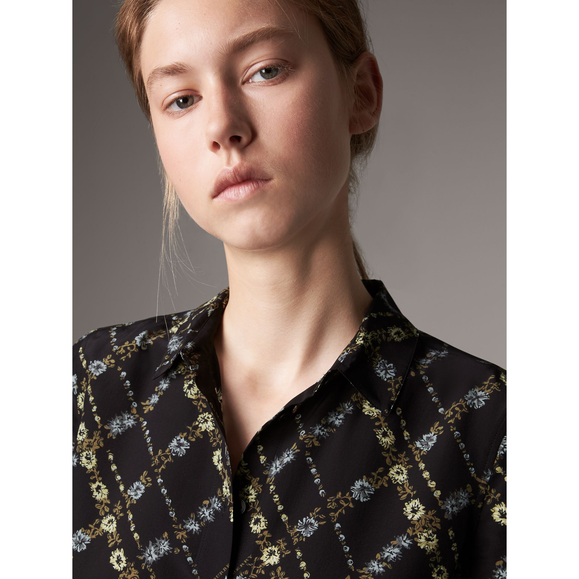 Lattice Floral Print Silk Shirt in Black - Women | Burberry - gallery image 2