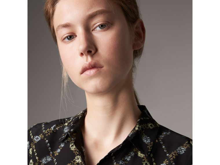 Lattice Floral Print Silk Shirt in Black - Women | Burberry - cell image 1