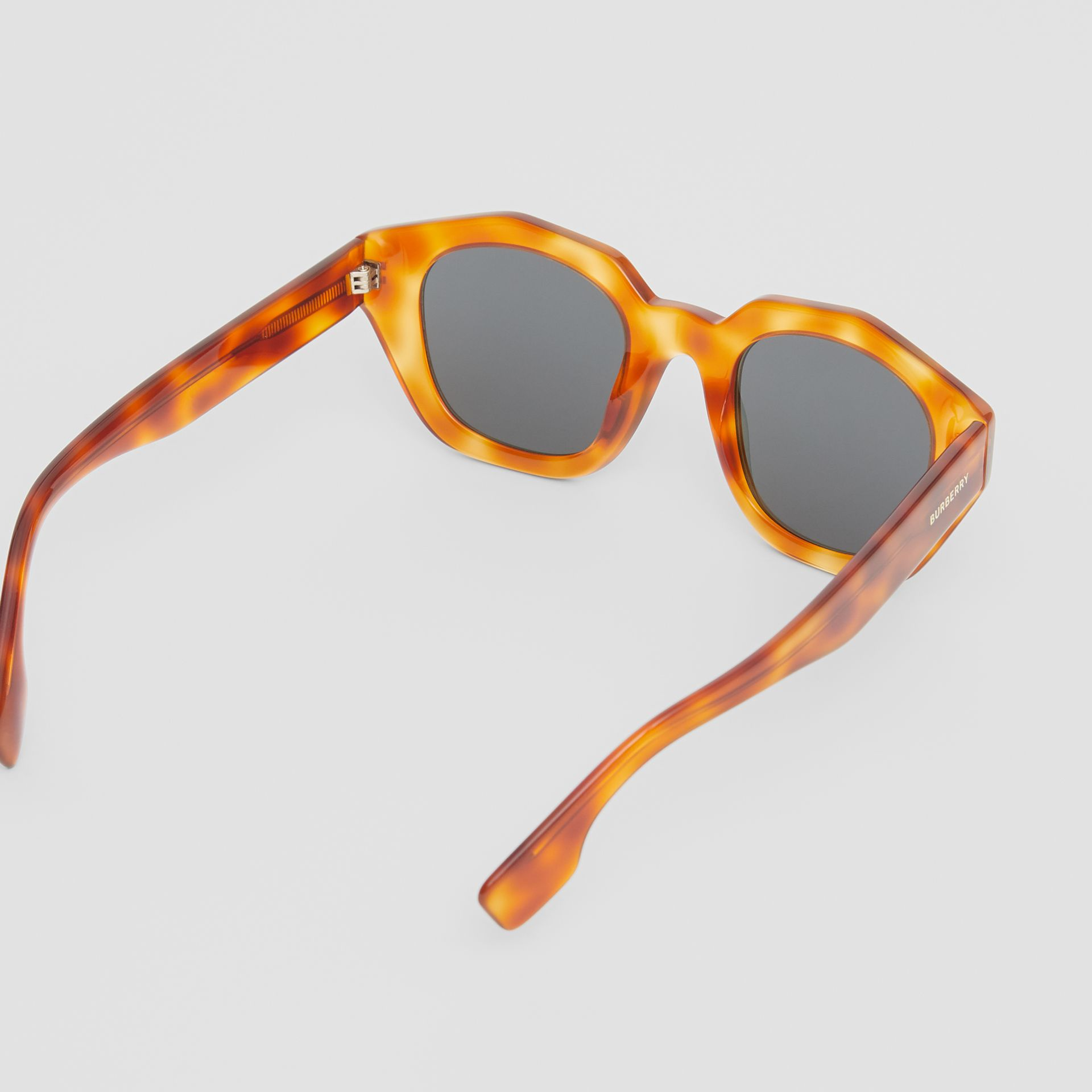 Geometric Frame Sunglasses in Tortoiseshell Amber - Women | Burberry - gallery image 4