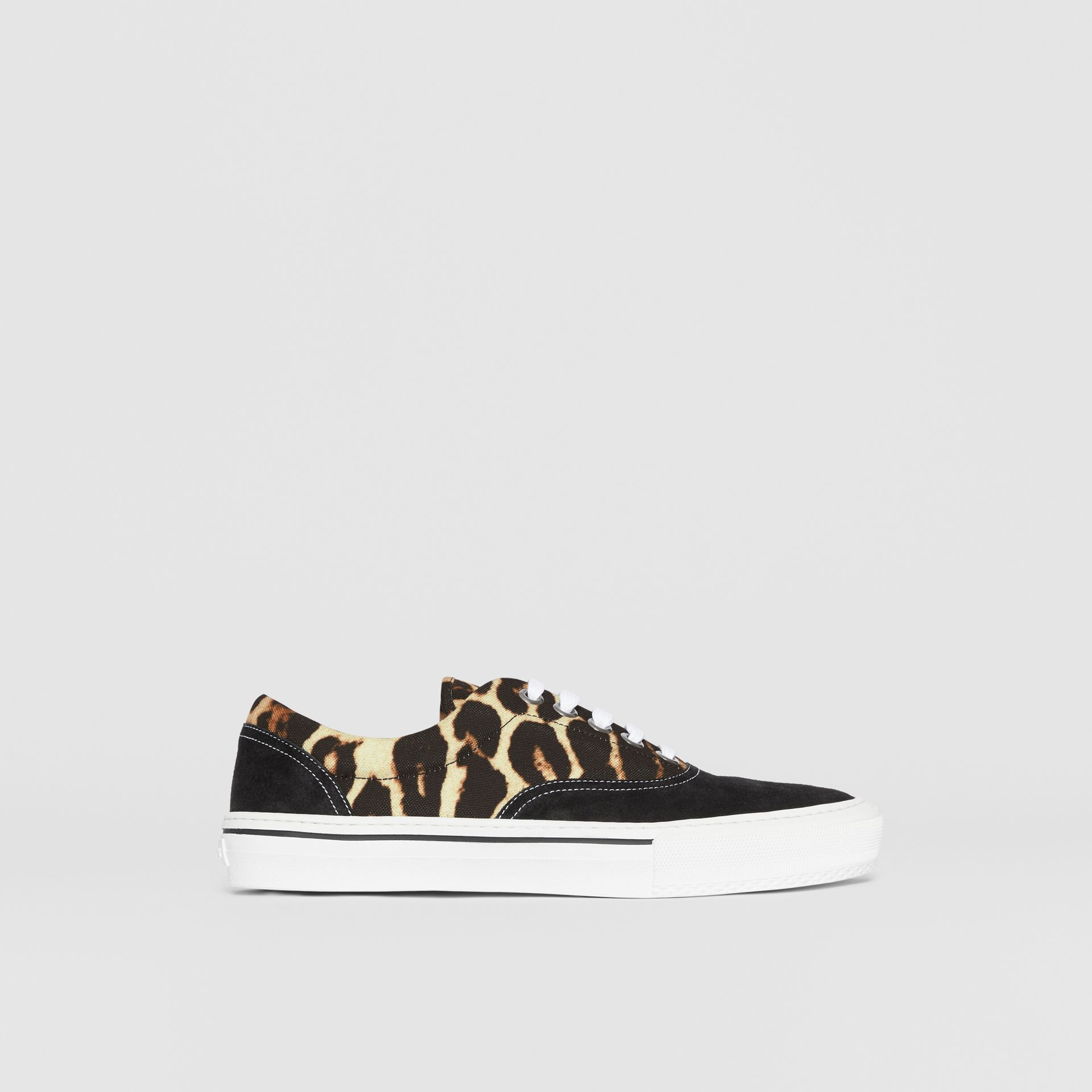 Leopard Print Nylon and Suede Sneakers in Black/honey - Men | Burberry United States - gallery image 5
