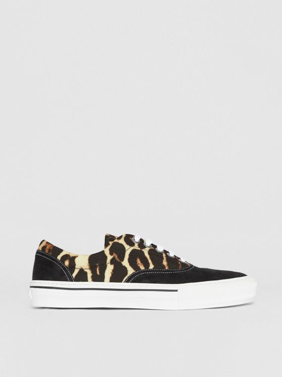 Leopard Print Nylon and Suede Sneakers in Black/honey