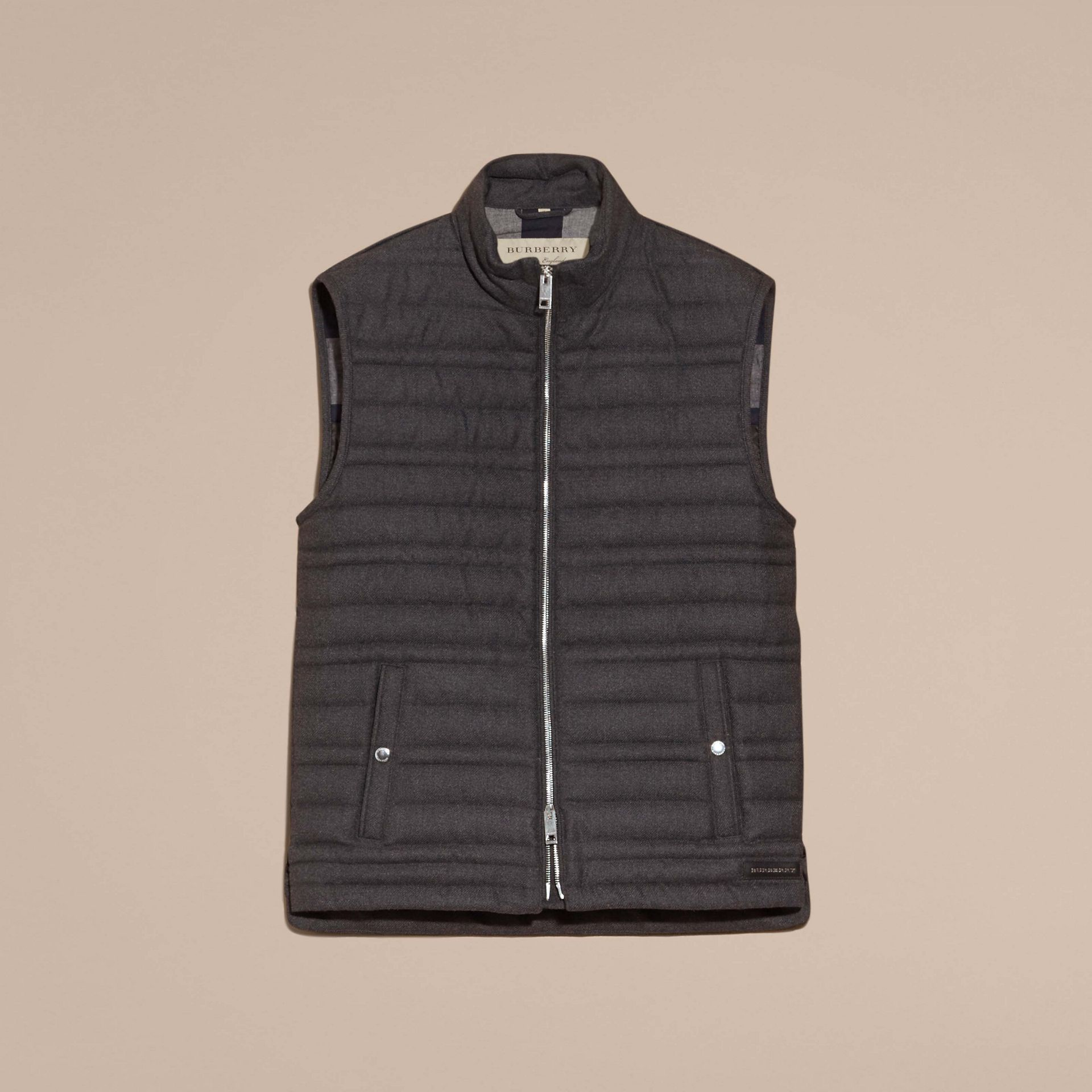 Dark grey melange Down-filled Wool Flannel Gilet - gallery image 4