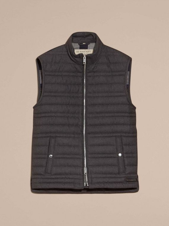 Dark grey melange Down-filled Wool Flannel Gilet - cell image 3