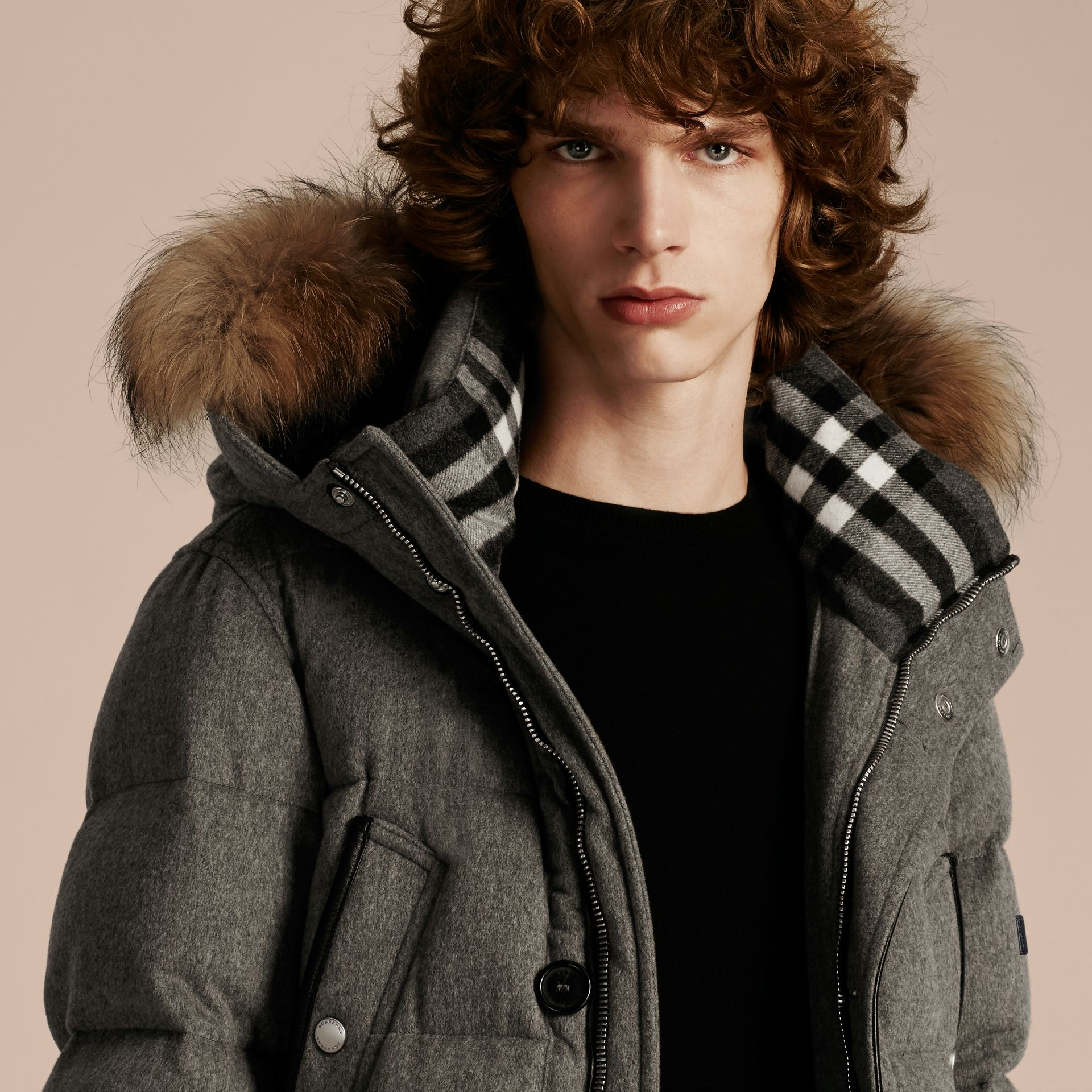 Down-filled Cashmere Parka with Detachable Fur Trim in Mid Grey Melange - gallery image 5