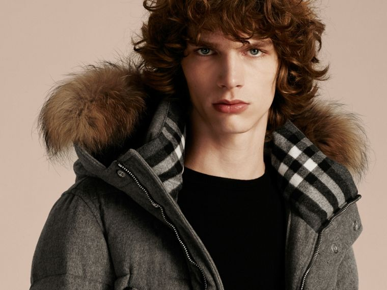 Down-filled Cashmere Parka with Detachable Fur Trim in Mid Grey Melange - cell image 4