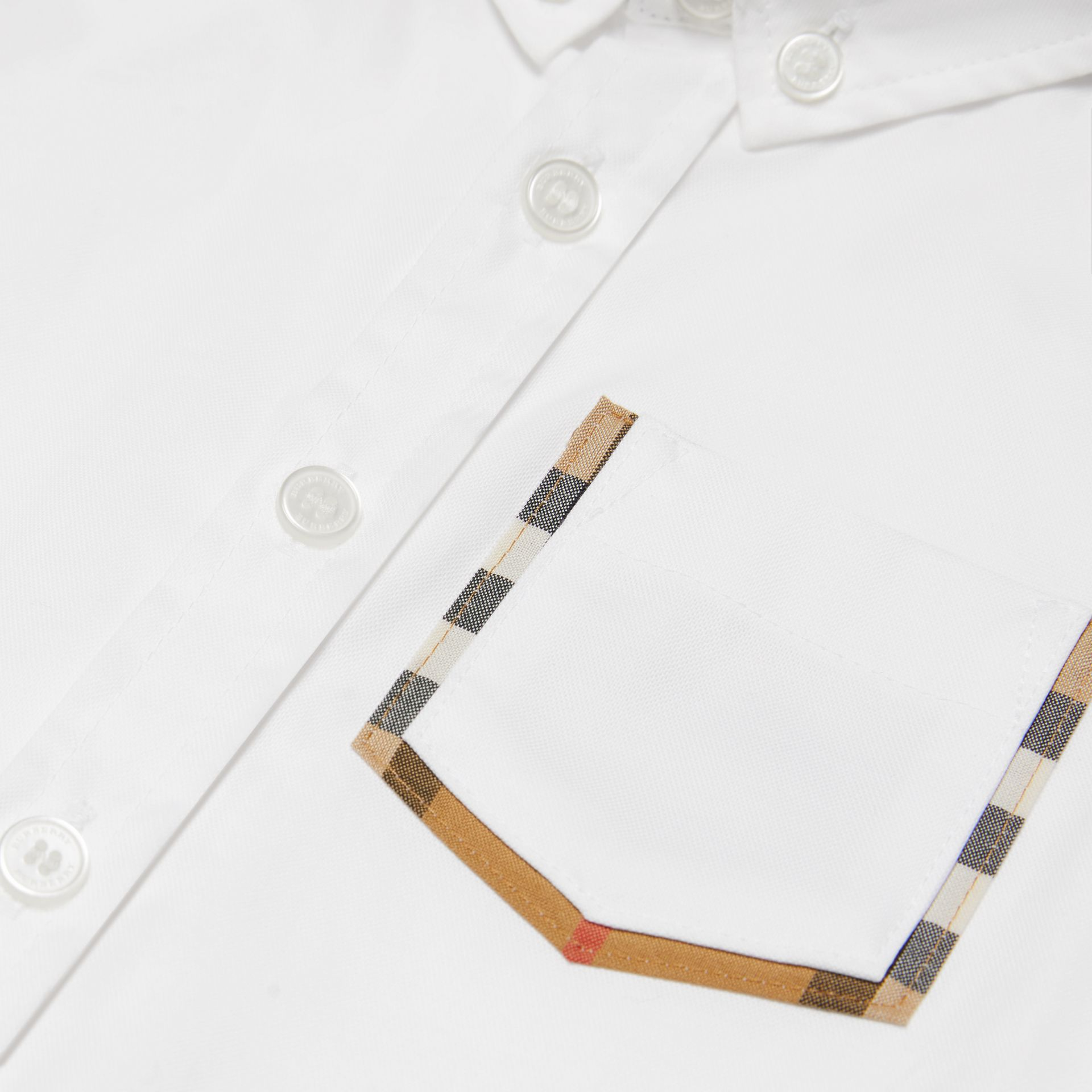 Check Detail Cotton Oxford Shirt in White - Children | Burberry Canada - gallery image 1